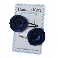 2 x Royal Blue Poppy Hair Clips