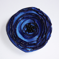 Royal Blue Fabric Poppy Corsage