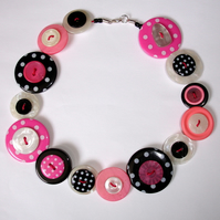 Pink, Black and White Spotty Button Necklace