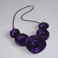 Purple Fabric Poppy Flower Necklace