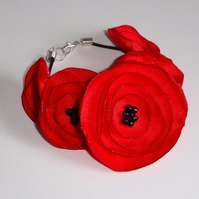 Red Poppy Fabric Flower Bracelet