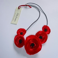 Pretty Red Poppy Fabric Flower Necklace