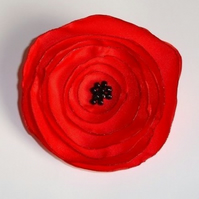 Red Poppy Fabric Flower Corsage