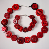 Red Button Necklace and Bracelet Set
