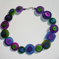 Green, Purple and Blue Button Necklace