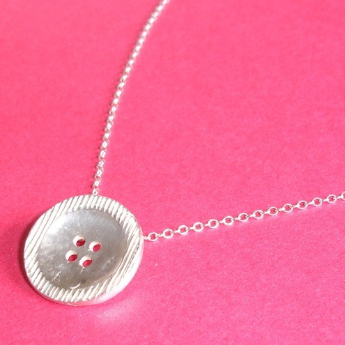 Sterling Silver Large Button Pendant / Necklace