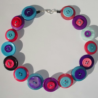 Pink, Aqua and Purple Button Necklace