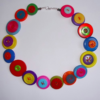 Multi Coloured Button Necklace