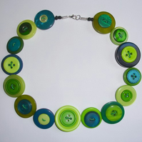 Green, Aqua and Lime Button Necklace