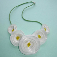 Spring Inspired Fabric Flower Necklace