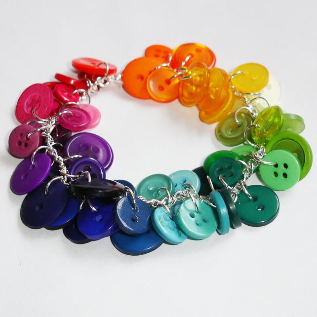 Rainbow Button Charm Bracelet