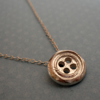 Little Sterling Silver Button Necklace