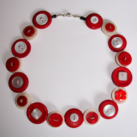 Strawberry and Cream Button Necklace