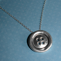 Large Sterling Silver Button Pendant