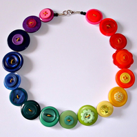 Bright Rainbow Button Necklace