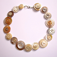 Vintage Mother Of Pearl Button Necklace