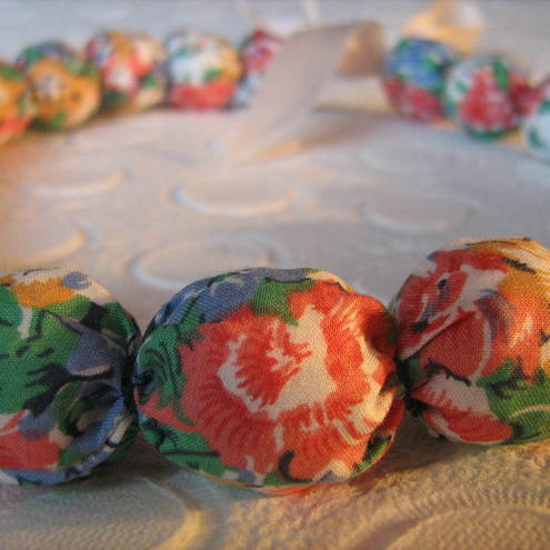 Fabric Covered Chunky Bead Necklace