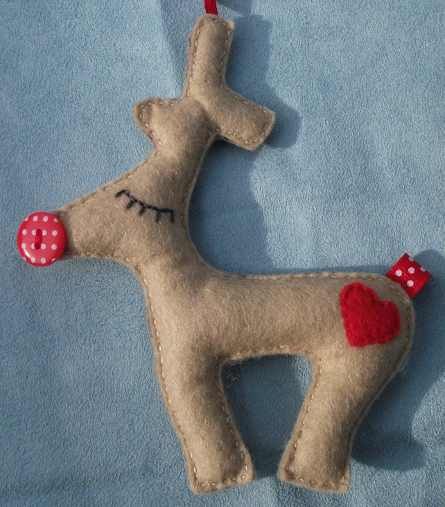 Personalised Christmas reindeer decoration