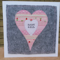 New baby textile hand stitched cards