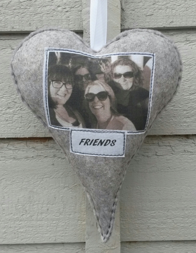 Personalised hanging decoration with fabric photo of you and your friends