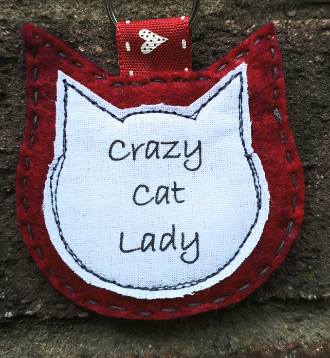Handcrafted Crazy Cat Lady Bag Charm