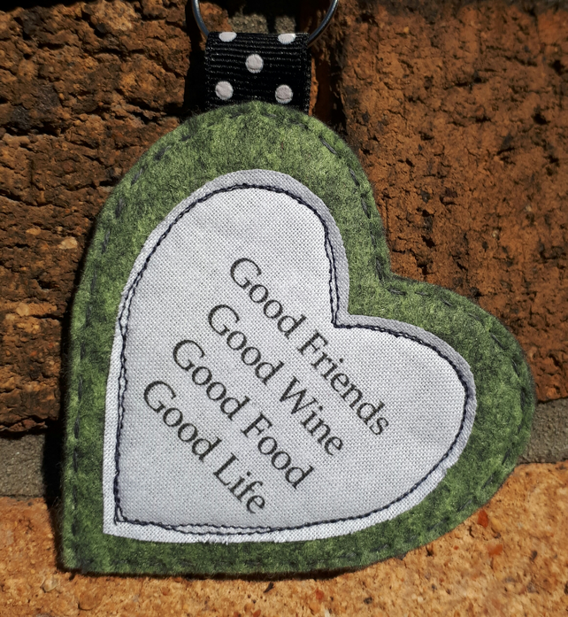 Heart quote friendship bag charm