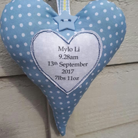 Personalised new baby hanging heart