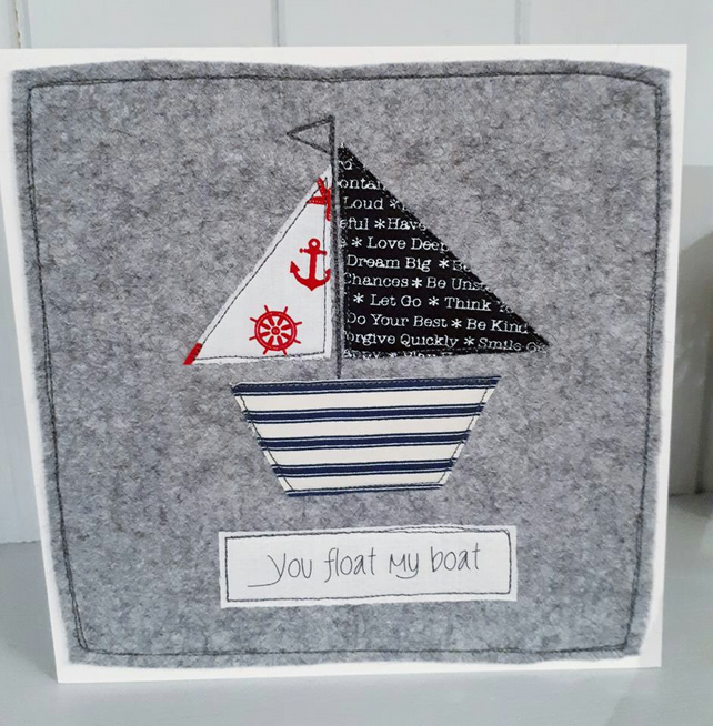 Textile Valentine card 'you float my boat'