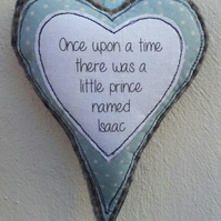 New baby gift hanging heart