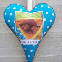 Personalised photo hanging heart decoration