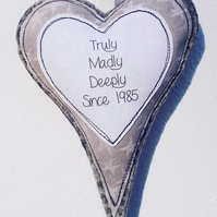 Personalised anniversary hanging heart - Truly Madly Deeply since