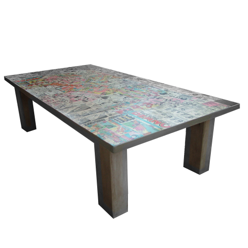 Themed decoupage coffee table folksy for Themed coffee tables