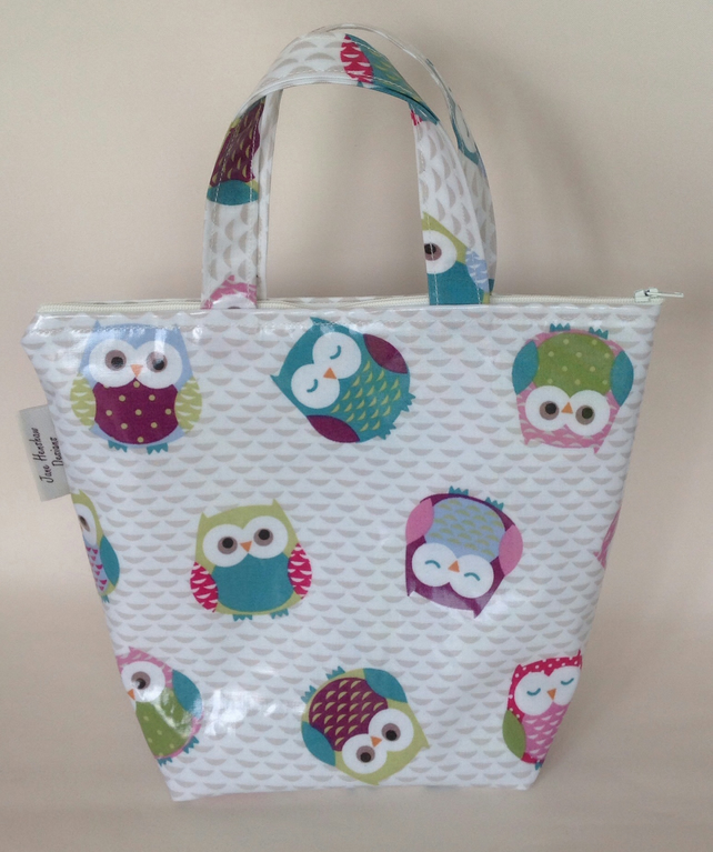 Insulated lunch bag,Cool bag,Lunch bag,Mini tote,Owls oilcloth
