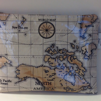 iPad bag,Tablet cover,iPad case,iPad Sleeve,World Maps Oilcloth