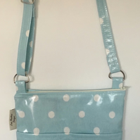 Messenger Bag, crossbody bag,handmade in Cath Kidston blue spot oilcloth