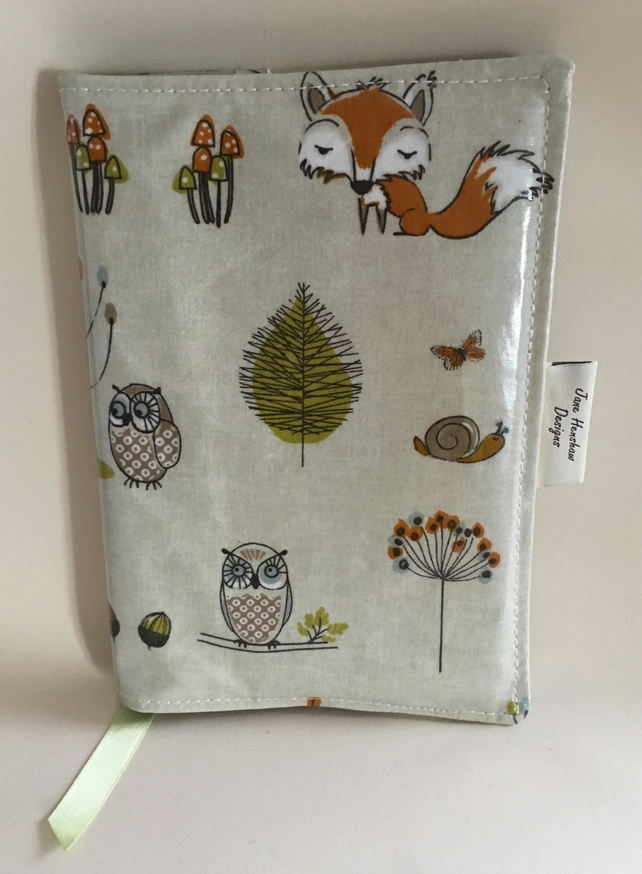 A5 diary cover, book cover, journal cover, oilcloth diary cover,  fox and owls