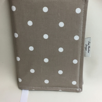 A5 diary cover, book cover, journal cover, Oilcloth diary cover, Taupe spotty