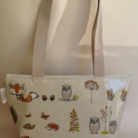 Tote bag,shopping bag,handbag,Book Bag,woodland fox and owl oilcloth
