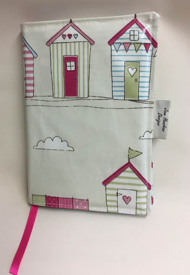 A5 diary cover, book cover, journal cover, Oilcloth diary cover,Beach huts