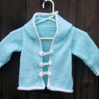 Delightful mint green and white baby's hoodie