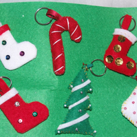 Set of 6 felt christmas tree decorations