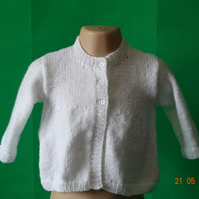 Hand knitted white baby Jacket style cardigan for 0-6 month old
