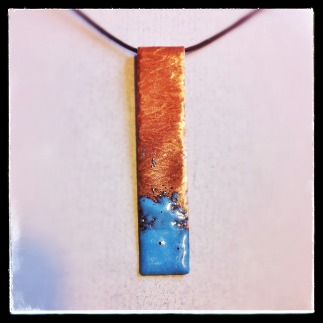 Sea spray copper enamelled pendant