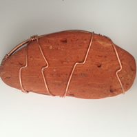 Sea brick and copper brooch