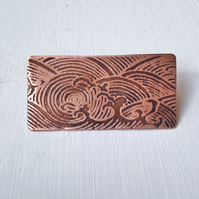 Copper etched sea Brooch badge