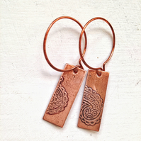 Boho copper etched earrings