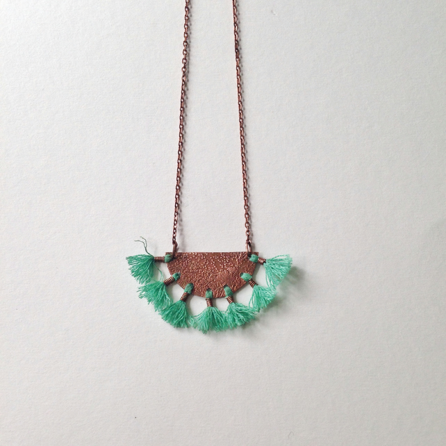 Boho tassle & etched copper necklace