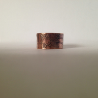 Shooting stars copper etched ring