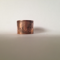 Stag ring etched Copper