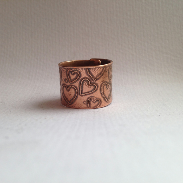 Heart ring etched copper
